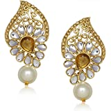 Meenaz Jewellery Gold Plated Kundan Pearl Diamond Earrings Jewellery Set For Girls T305