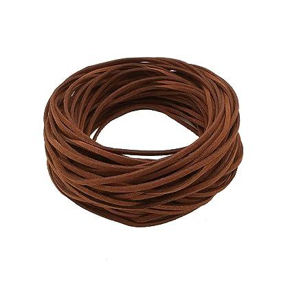 21M Cuerda de Cuero para Pulsera Collar Fabricación de Bisutería y Abalorios Artesanía (café)