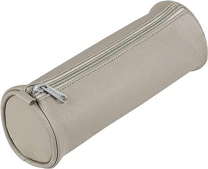 Idena 23907 – Estuche redondo, piel sintética, 1 pieza, gris: Amazon.es: Oficina y papelería