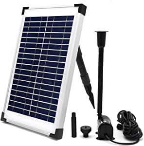 ECO-WORTHY Solar Fountain Water Pump Kit 10 W, 160GPH+ 12 Watt Solar Panel Submersible Powered Pump for Small Pond, Garden Decoration, Pool, Birdbath(Need Sunlight)