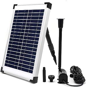 ECO-WORTHY Solar Fountain Water Pump Kit 10 W, 160GPH+ 12 Watt Solar Panel Submersible Powered Pump for Small Pond, Garden Decoration, Pool, Birdbath(Need Sunlight)