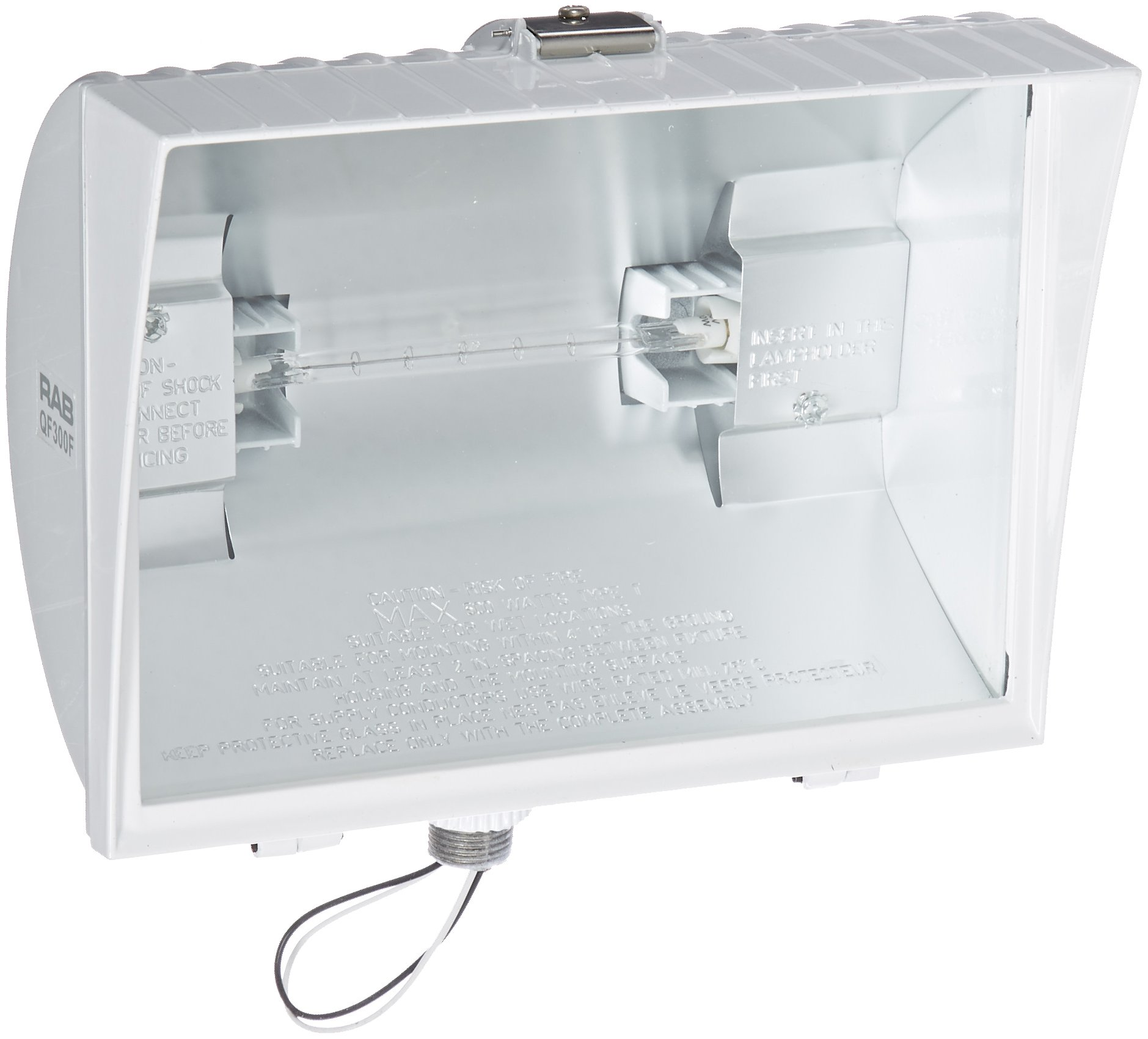 RAB Lighting QF300FW Quartz Curve Floodlight, Aluminum, 300W Power, 6100 Lumens, 120V, White