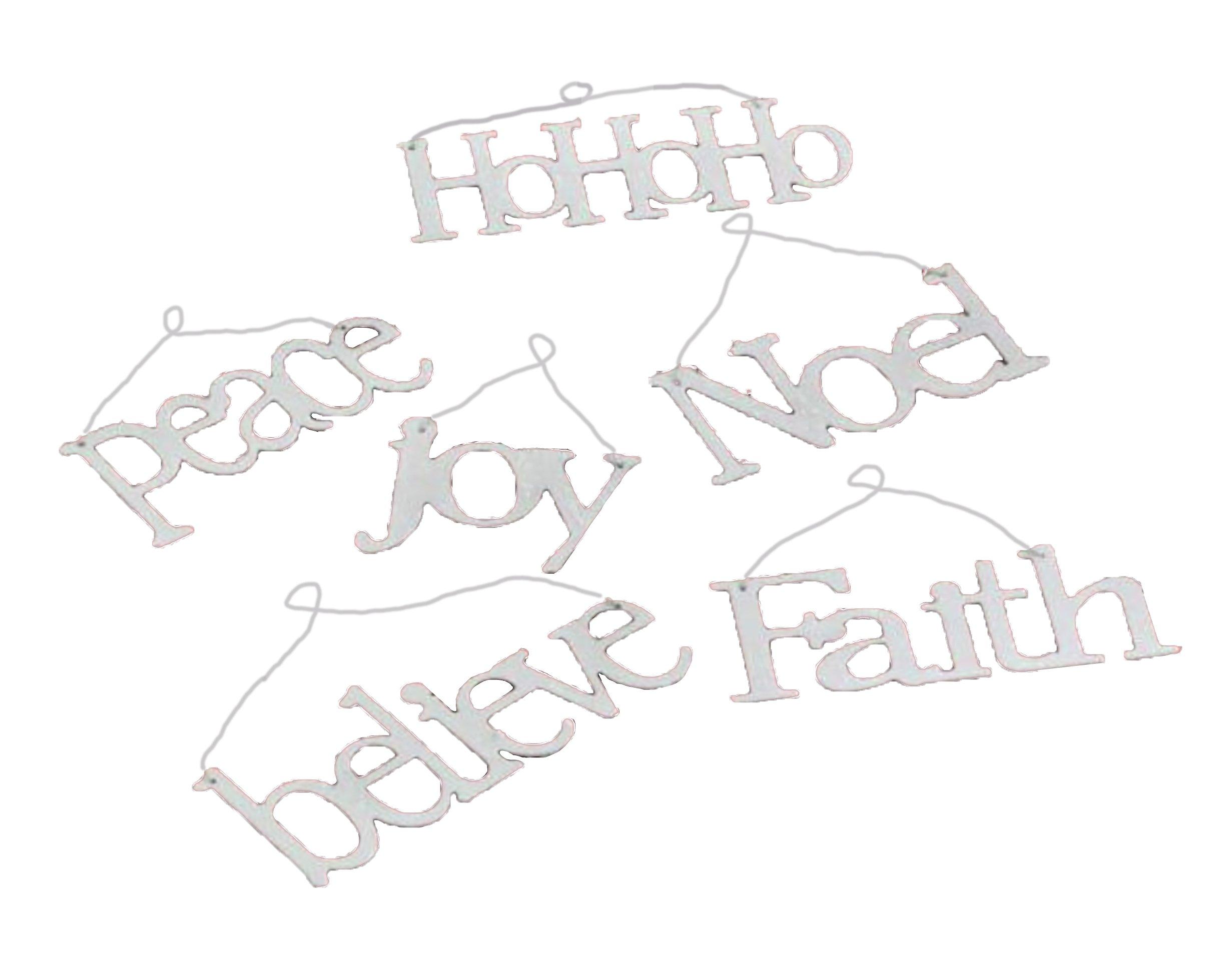 K&K Interiors Laser Cut Message Ornaments, Set of 6, Faith, Joy, Believe, Noel, Peace, HoHoHo (White)