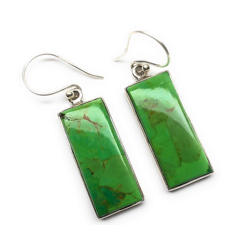 Handmade Earring Wedding Earring Green Copper Turquoise Earring Solid 925 Silver Earring Turquoise Earring Dangle Earring Gemstone