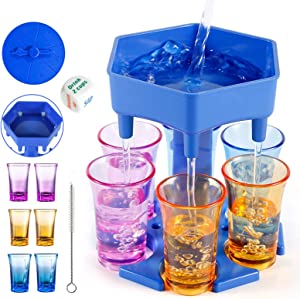 6 Shot Glass Dispenser and Pourer,Bar Shot Drink Dispenser for Filling Liquids Shot Buddy Liquor Beverage Dispenser with Silicone Plug and Game Dice,for Bar Cocktail Parties Family Friends Gifts