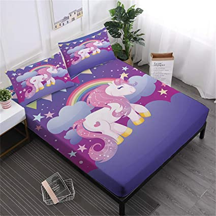 Oliven 3D Cartoon Unicorn Sheets Twin Size Fitted Sheets Set Twin Size Bed Sheets Twin Purple Bedding Set 3 Pieces Girls Gift Home Decor