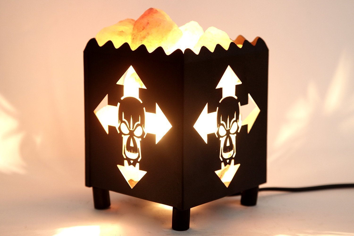 DIA Natural Himalayan Salt Lamp in Skull Design Metal Basket with Dimmable Cord For Christmas And Halloween gifts