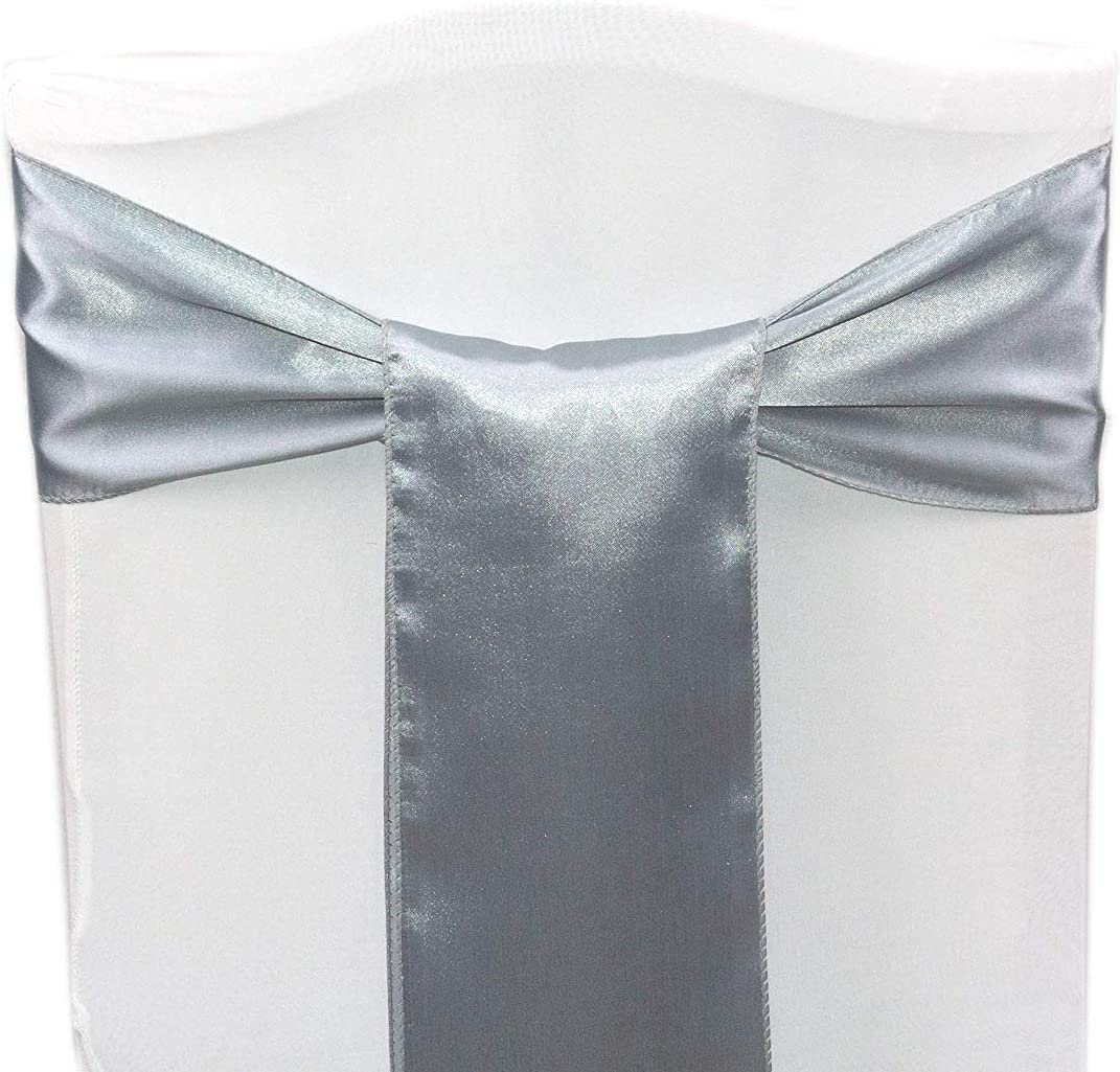 mds Pack of 50 Satin Chair Sashes Bow sash for Wedding and Events Supplies Party Decoration Chair Cover sash -Olive Green: Furniture & Decor