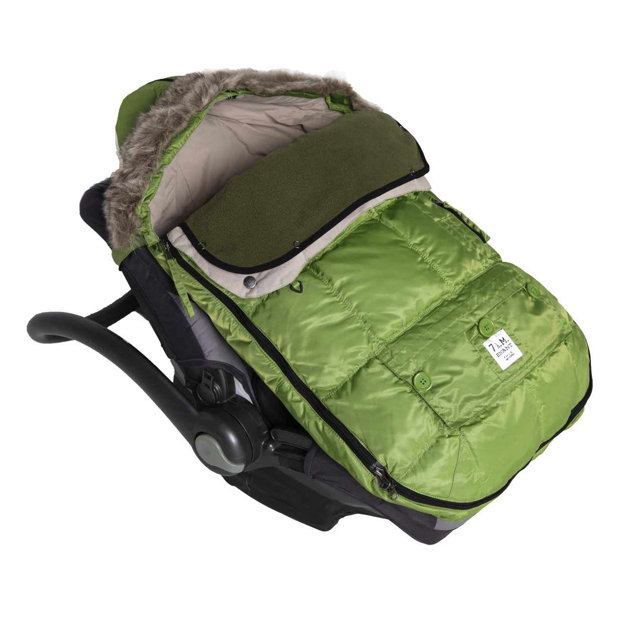 7AM EnfantLe Sac Igloo Footmuff, Converts into a Single Panel Stroller and Car Seat Cover - Café, Large 7 A.M. ENFANT LS500L-CA