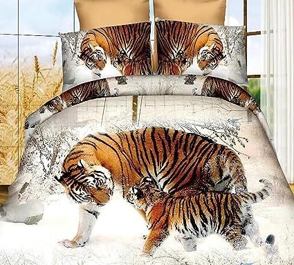 3D Snow Winter Tiger Bedding Set Polyester Comforter Sets Prints Duvet  Cover Set Queen Size 4Pcs