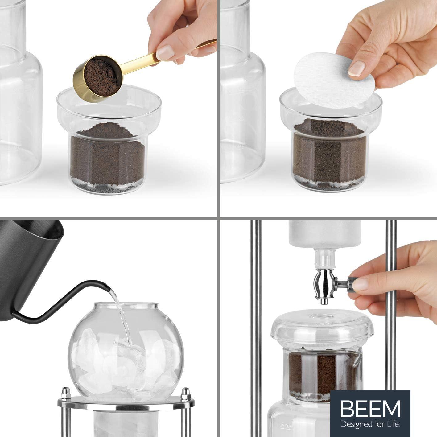 Cafetera de /émbolo 0,6 l, 11 piezas, jarra de cristal, doble filtro de acero inoxidable, Dripper ajustable Beem Cold Drip