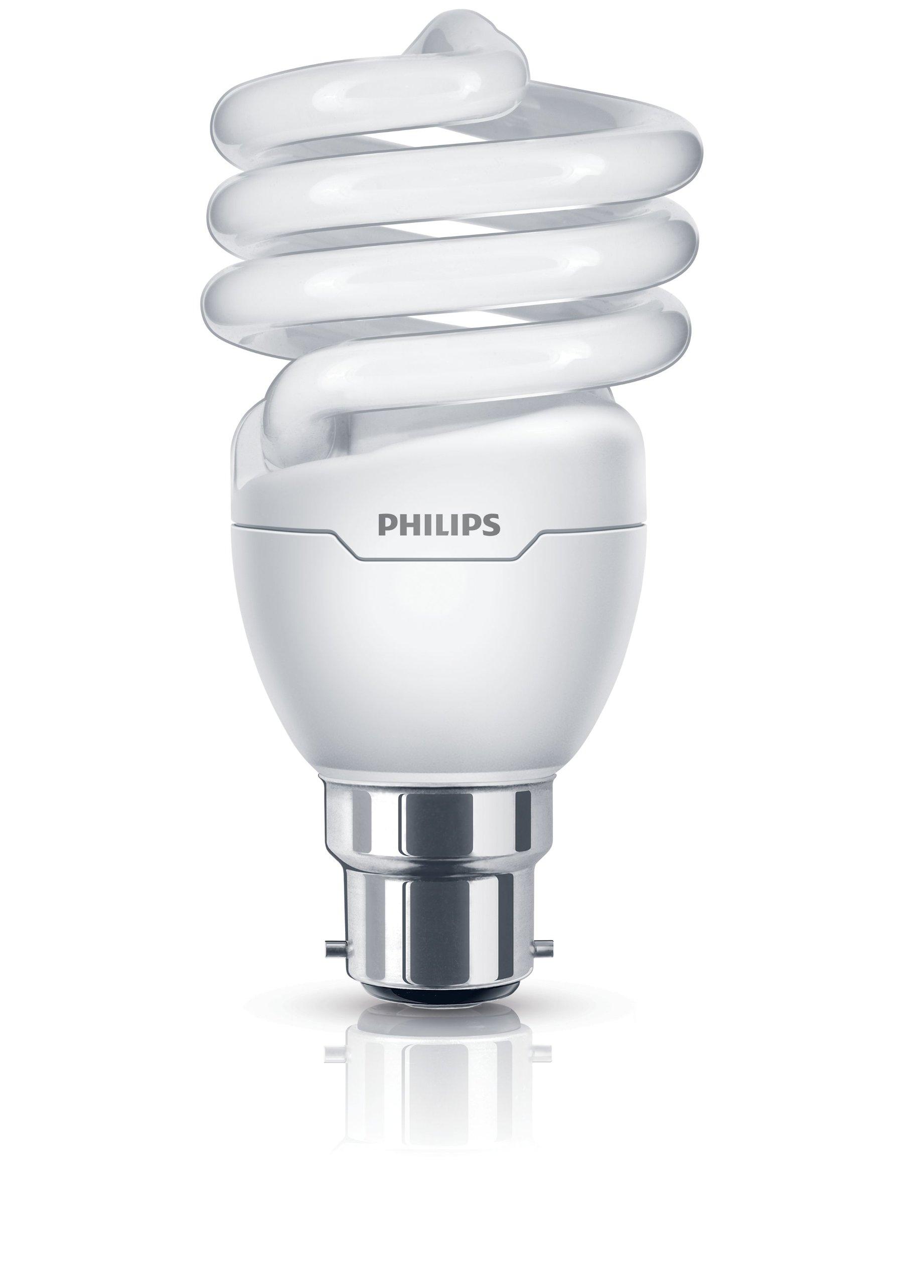 Philips Tornado Compact Fluorescent Spiral B22 Bayonet Cap Light Bulb, 20 W (95 W Equivalent, 10000 Hours) - Warm White