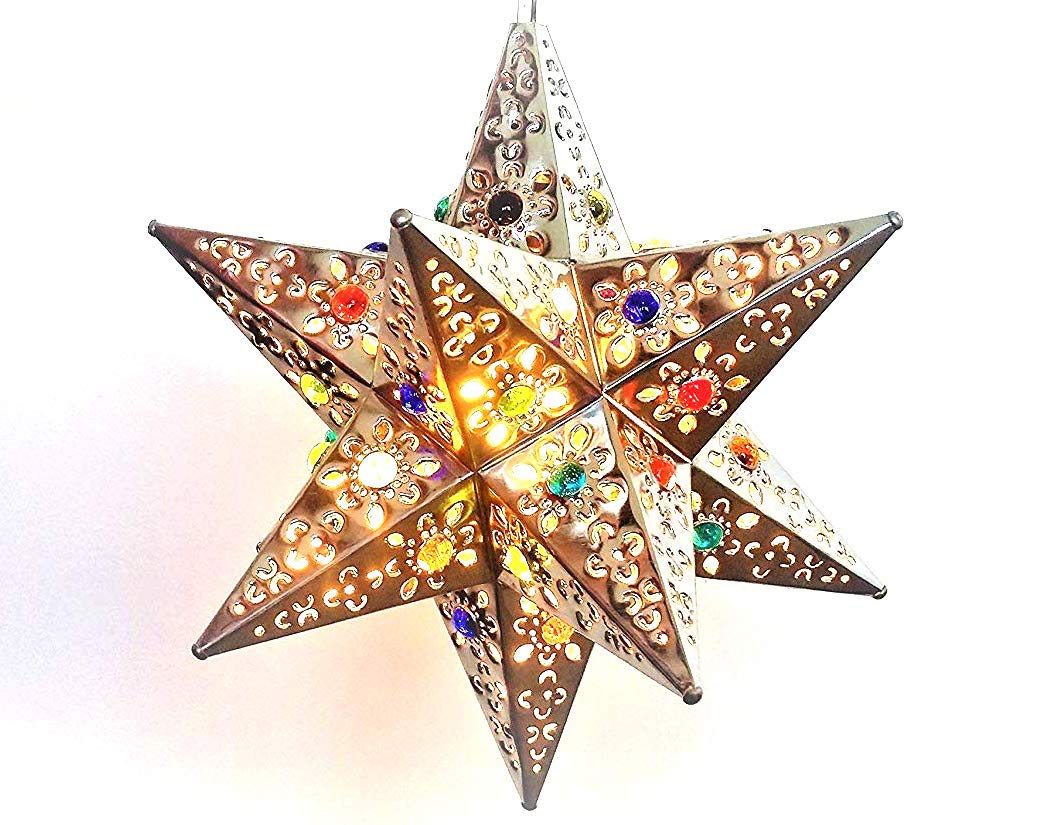 Unique and Beautiful Handmade Hanging Star Lamp with 12 Points! for Home and Garden Decor Outdoor Hanging Decorative Star Lantern with Marbles, You Will Love it