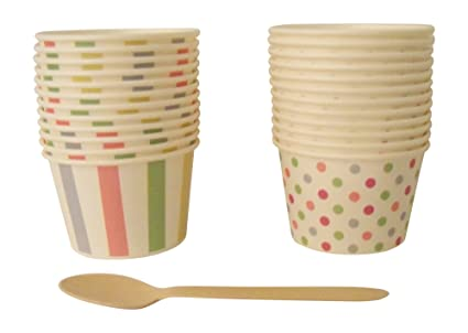Buy Paper Ice Cream Cups With Wooden Spoons 24 Count Online At Low
