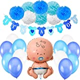 Jonami Babyparty Junge / Baby Shower Junge / Babyparty Deko - It's a Boy Blau Girlande + 1 XXL Neugeborene Folienballoon + 8 Blumenpuscheln + 12 Ballons. Baby Party / Babydusche Dekorations