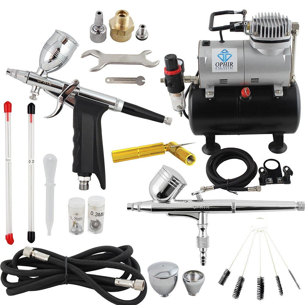 OPHIR 2PCS Dual Action Airbrush Gun Kit with 110V Air Tank Compressor & Cleaning Tool for Hobby Nail Art Makeup