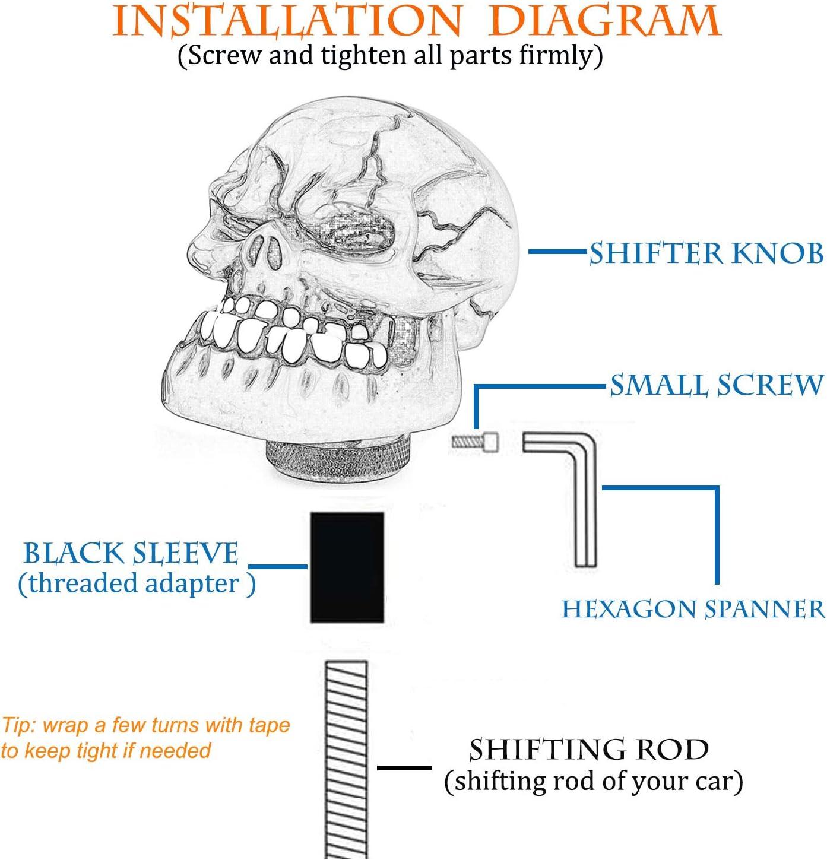 Interior Accessories Thruifo Skull Gear Stick Shift Knob Black Big ...