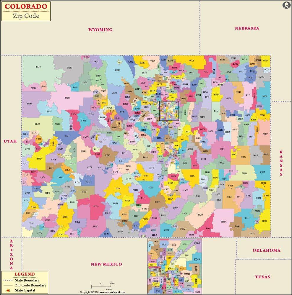 Amazon.com : Colorado Zip Code Map - Laminated (36