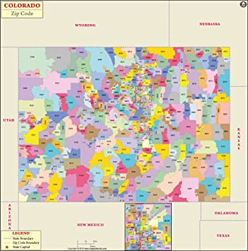 Colorado Zip Code Map Laminated 36 W X 36 H Maps Of World
