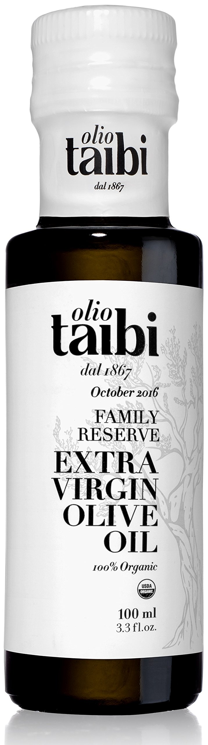 "NEW HARVEST OCTOBER 2017 Award-Winning Organic Extra Virgin Olive Oil, Monocultivar ""Biancolilla"", Single Sourced Sicily, Italy, Fruity, High Polyphenols, Unrefined, 3.38 Fl Oz - Olio Taibi"