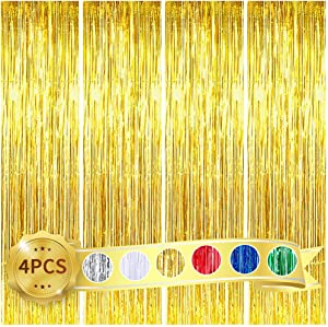 BEISHIDA 4 Pack Gold Metallic Tinsel Foil Fringe Curtains for Birthday Party Photo Backdrop Wedding Event Decor