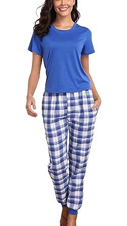 240e80d0c2c8b8 Giorzio Damen Schlafanzug Hausanzug Kurzarm Pyjama für Frauen T-Shirt  Zweiteiler O-Ausschnitt Baumwolle Schlafoveralls Karierte Top Hose Set ...