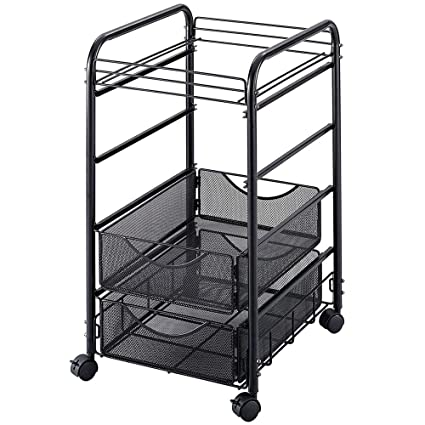 dc205b2d7947 Amazon.com : Rolling File Carts with Wheels Letter Size Open Hanging ...