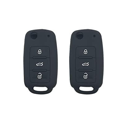 BAR Autotech Remote Key Silicone Rubber Keyless Entry Shell Case Fob and Key Skin Cover fit for VW Volkswagen B5 Golf Polo Passat Jetta (1 Pair) (Black): Car Electronics