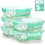 [5-Pack,34Oz] Glass Containers for Meal Prepping - Food Storage Containers with Locking Lids - Glass Food Storage…