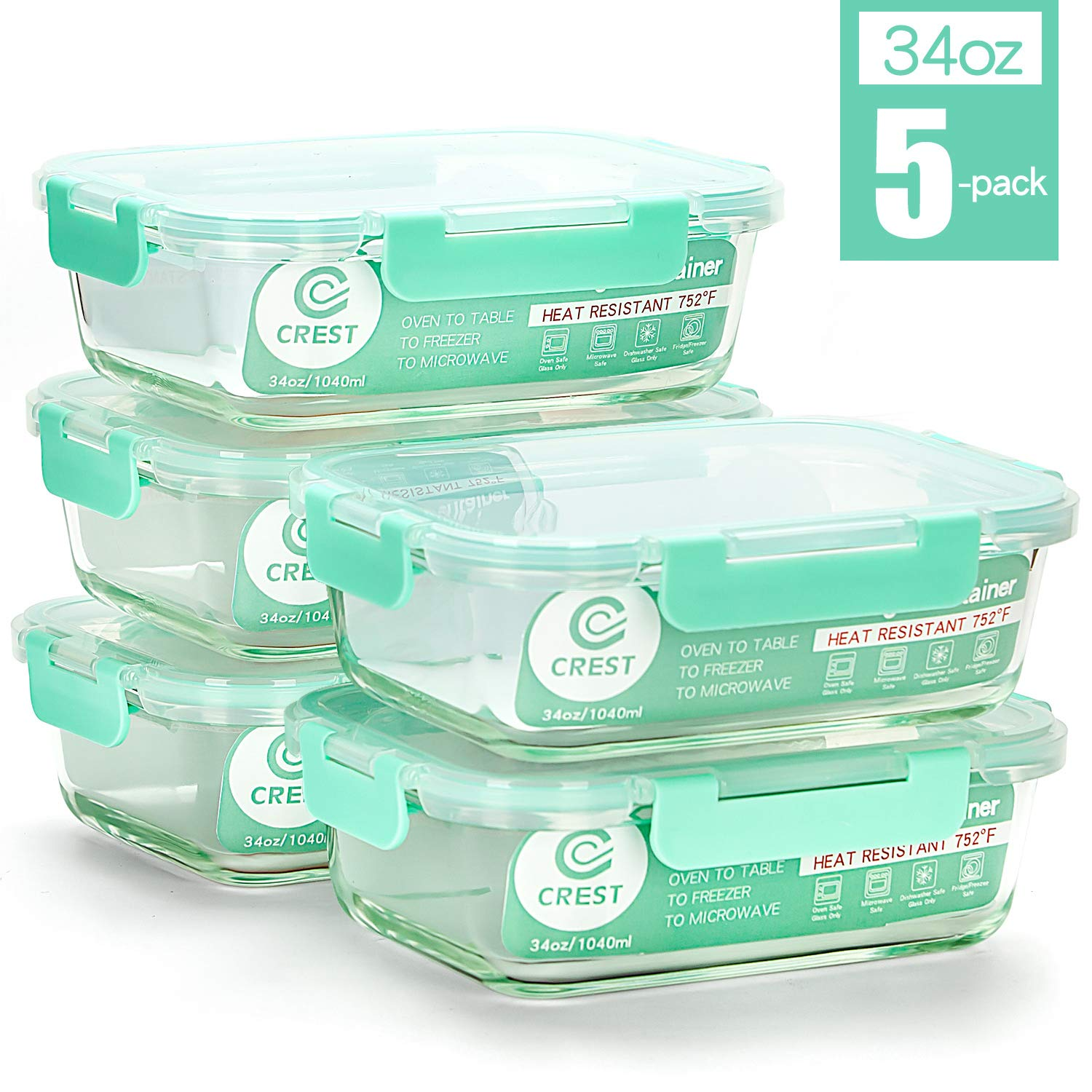 [5-Pack,34Oz] Glass Containers for Meal Prepping - Food Storage Containers with Locking Lids - Glass Food Storage Containers for kitchen use - Glass Meal Prep Containers