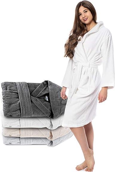 Twinzen Albornoz de Baño para Mujer con Capucha - 100% Algodón Certificado Oeko Tex - Bata Baño Mujer 2 Bolsillos, Cinturón y Cierre - Suave, Absorbente y Cómodo: Amazon.es: Ropa y accesorios