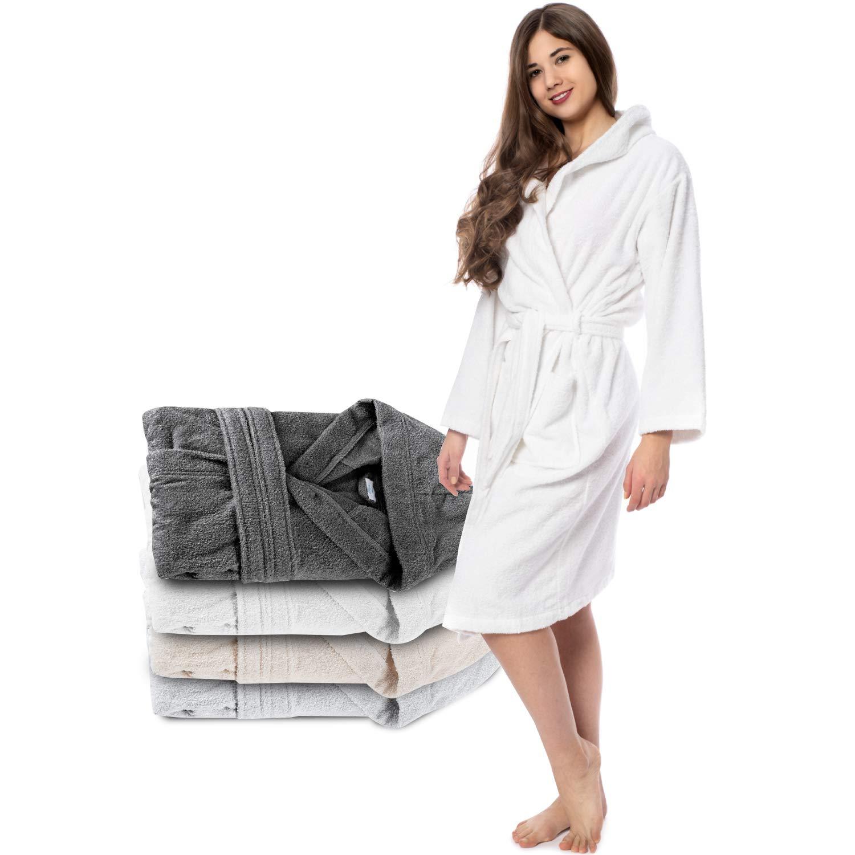 Twinzen Albornoz de Baño para Mujer con Capucha - 100% Algodón Certificado Oeko Tex - Bata Baño Mujer 2 Bolsillos, Cinturón y Cierre - Suave, Absorbente y Cómodo