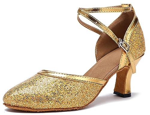 Honeystore Women s Criss Cross Dance Shoes Glitter Party Shoes Mid Heel  Mary Jean Dance Gold 6