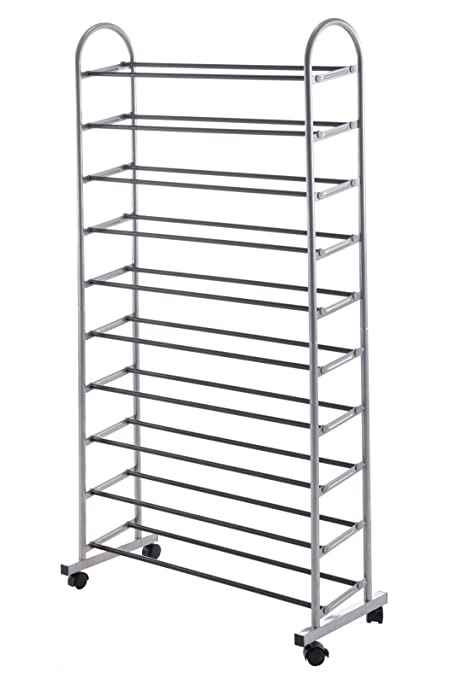 wilshine 10 tier shoe rack organizer metal large sturdy tall vertical rolling 30 40 pairs - Vertical Shoe Rack