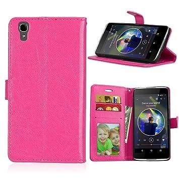 Qiaogle Teléfono Case - Funda de PU Cuero Billetera Clamshell Carcasa Cover para Alcatel One Touch Idol 4 (5.2 Pulgadas) - DK06 / Rose Moda Elegante ...
