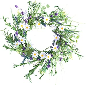 """YFZYMM Lavender Blossom Silk Spring and Summer Door Wreath,16"""" Blue White Flower Wreath Spring/Summer Wreath, Suitable for Front Door Indoor Wall Window Decor and Festival Celebration"""