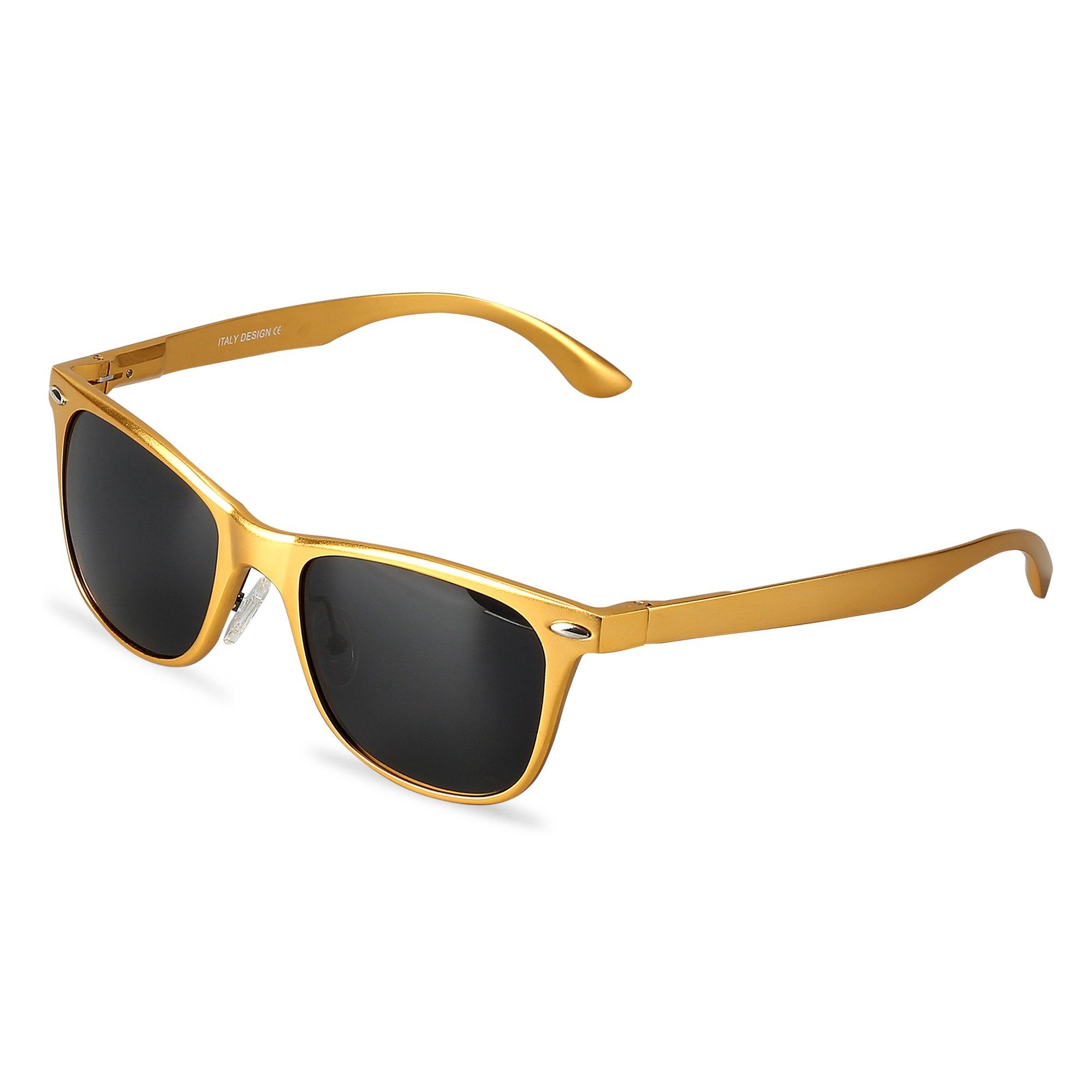 Wayfarer Polarized Sunglasses With Gift Box UV Protection Sports Floating Cycling LeadallwayTM(golden frame darkgrey lens)