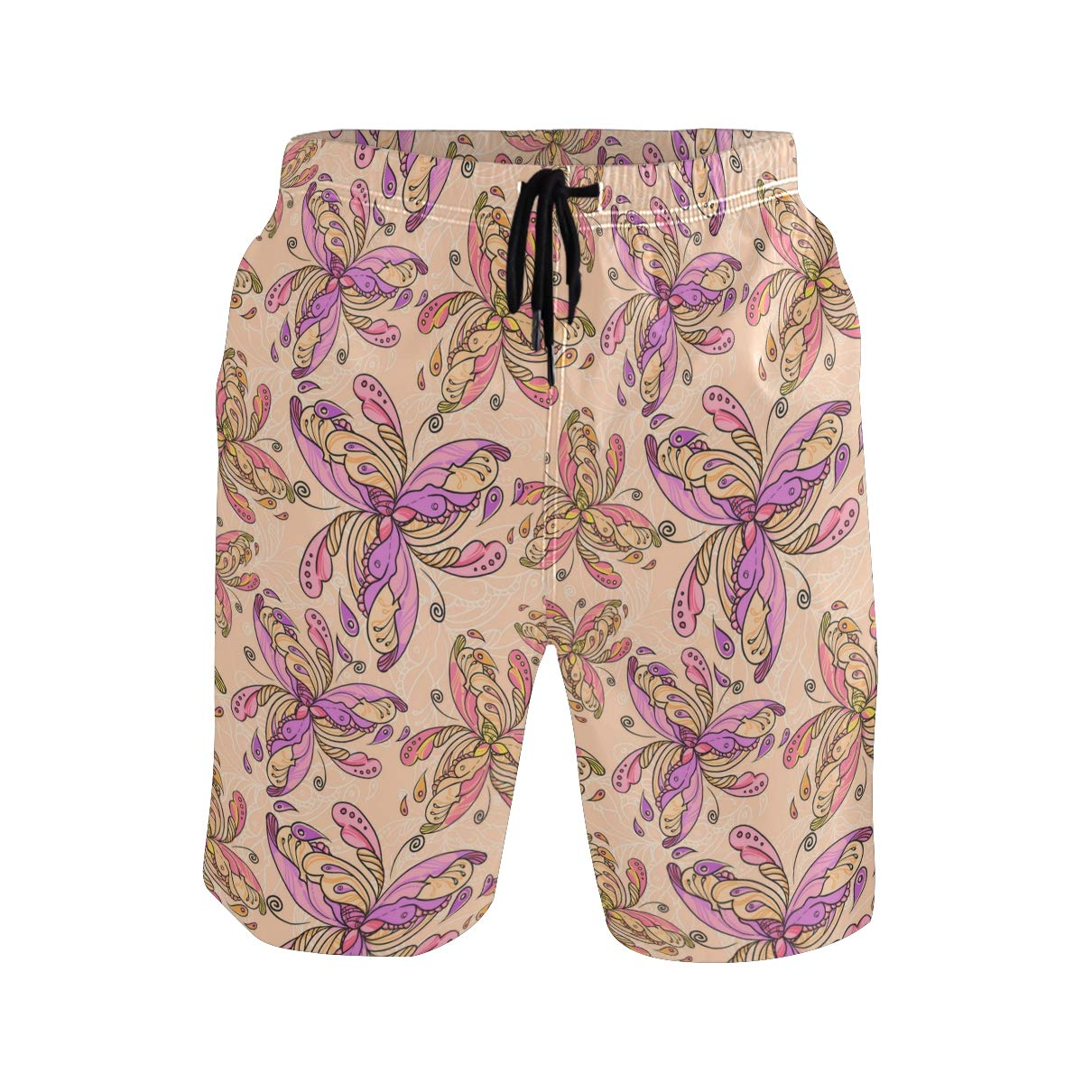 KVMV Abstract Flowers with Pink and White Dots Swirls Little Quick Dry Beach Shorts