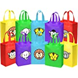 Ava & Kings 10 pack Reusable Party Favor Kids Goodie Bags - Safari Animal Faces