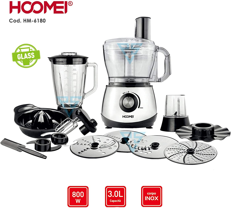 All Shop – Robot de cocina multifunción 3 L 800 W batidora trituradora Hoomei HM-6180: Amazon.es: Hogar