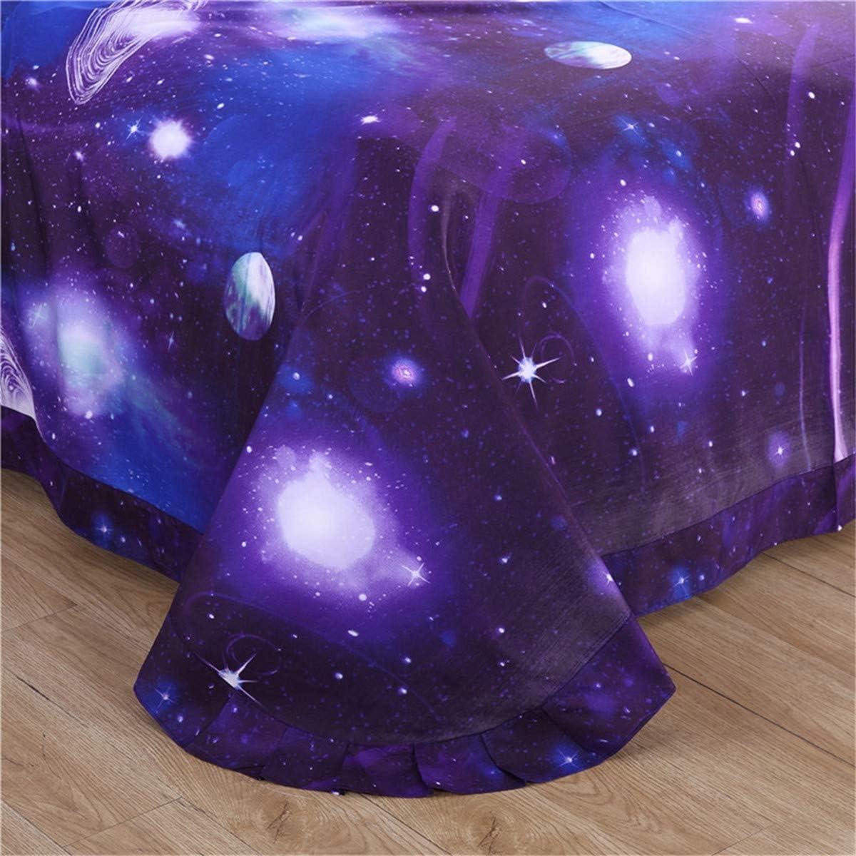 WONGS BEDDING 3D Galaxy Housse de Couette avec taies doreiller avec Housse de Couette Parure de lit pour Adultes et Adolescents Sigle Taille 135 200cm