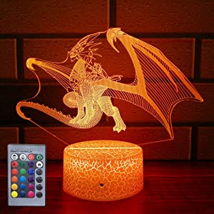 HLLKYYLF Baby Dragon Gifts Dragon Light 16 Color Changing Kids Lamp with Touch and Remote Control Dragon Toys Light as Gift Idea for Home Decor or Birthday Gifts for Baby