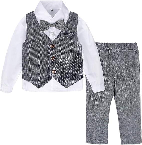 A/&J DESIGN 4pcs Baby Junge Anzug Set Weste Hose mit Hosentr/ägern+ Baskenm/ütze Hut 1-4 Jahre Shirt mit Fliege