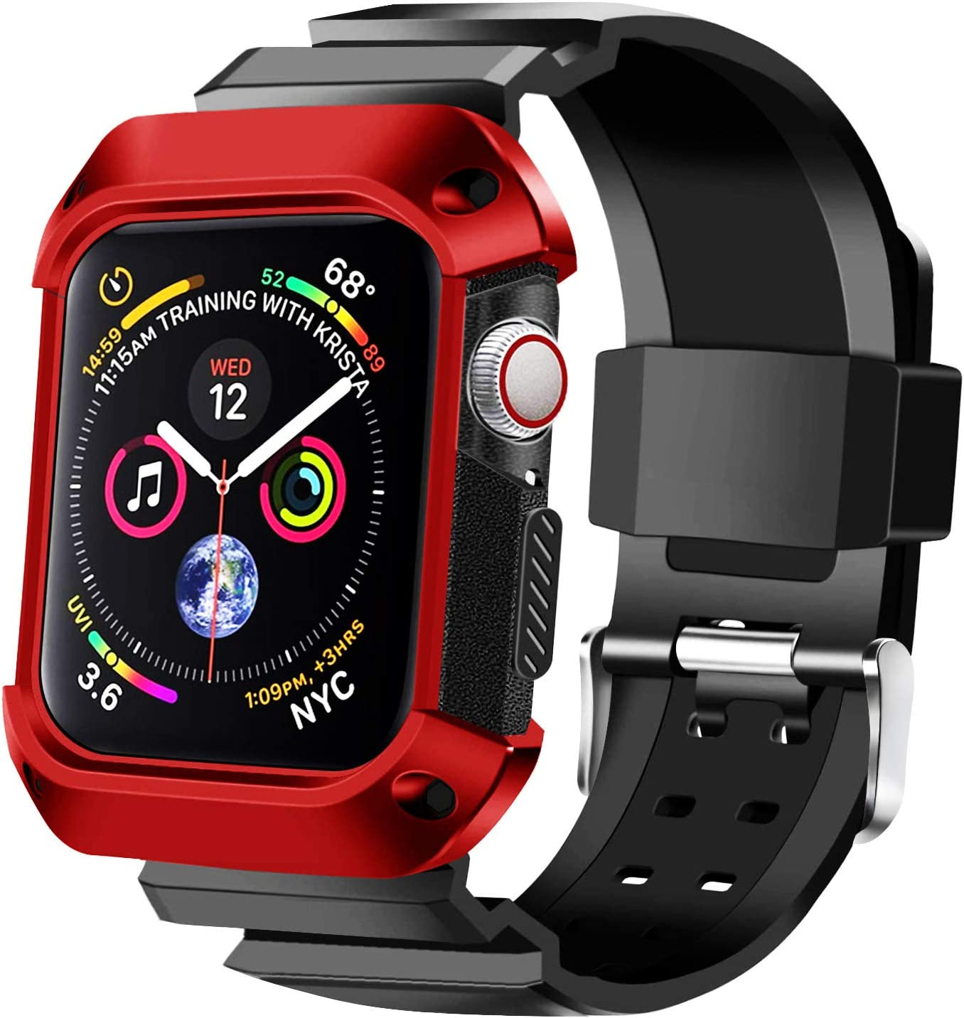 KUMEEK Compatible with Apple Watch Band 44mm 2018 with Case, Shock Resistant Rugged Protective Bumper Case with Soft Silicone Sport Strap for Apple Watch Series 4 44mm Red