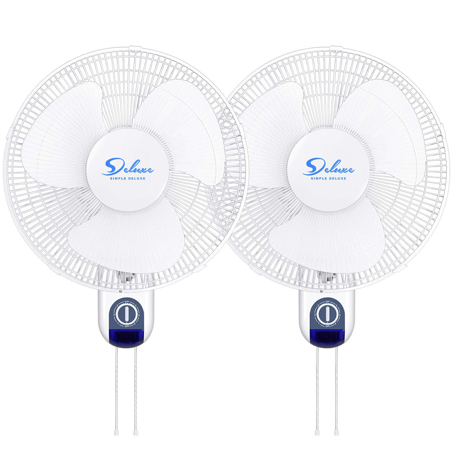 3 Speed Settings Simple Deluxe Operation 90 Degree ETL Certified 2Pack 16 Inch Adjustable Tilt Household Wall Mount Fans Oscillating with Remote Control Quiet for Home White Shop and Office