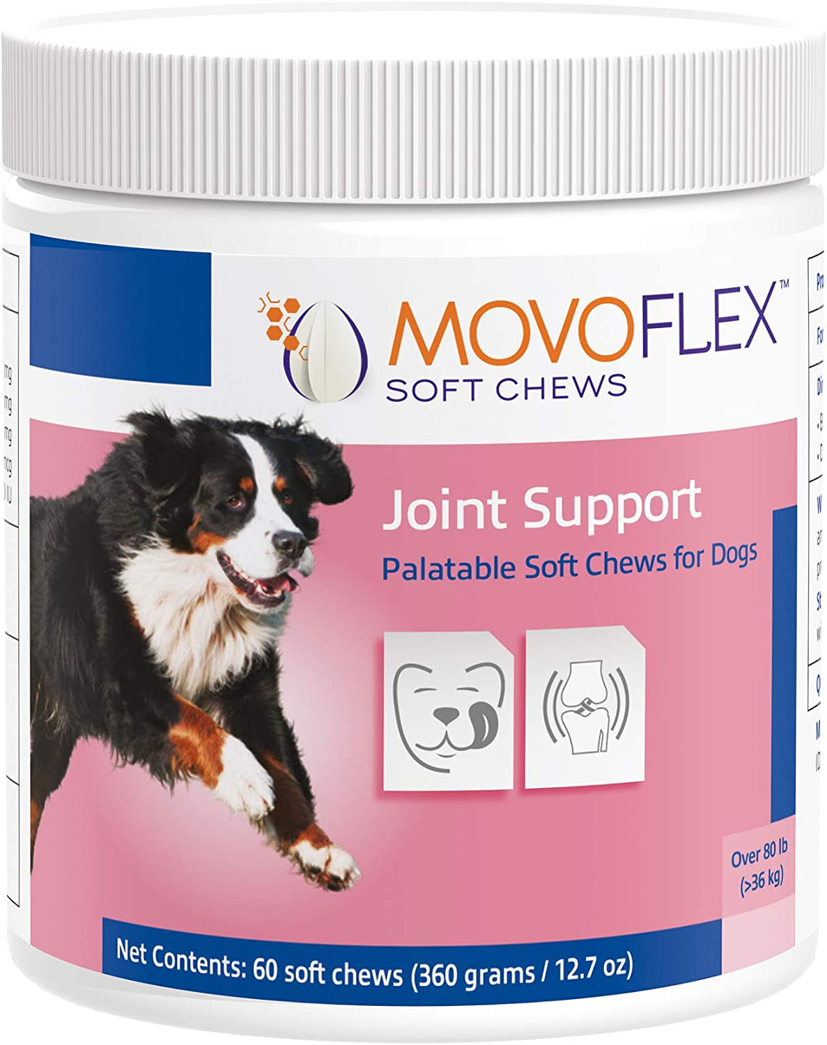 MOVOFLEX Dog Hip & Joint Support for Large Dogs - Veterinarian Formulated - One Chew A Day Serving Size - Gluten Free - 60 Soft Chews