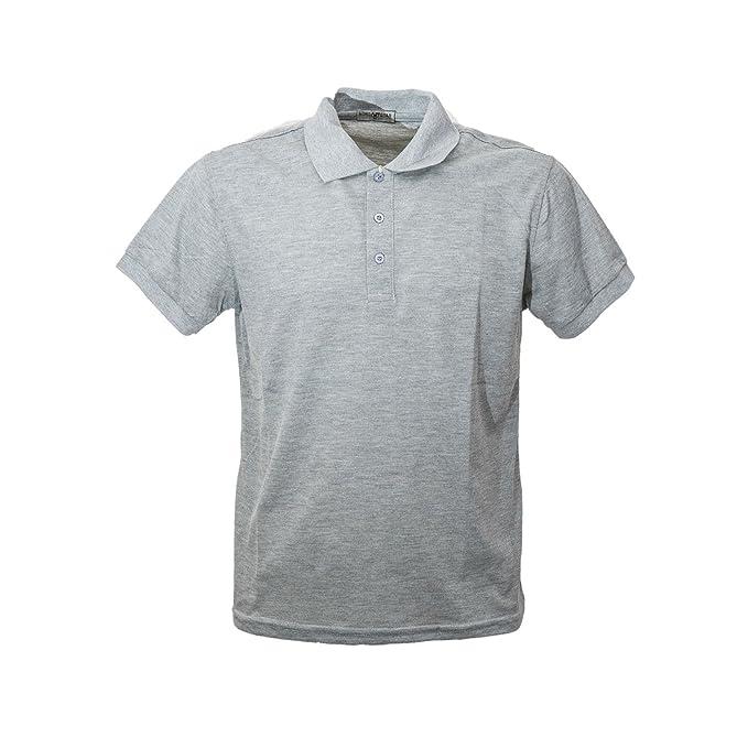 b7470090fb Polo Uomo Manica Corta Cotone Grigio Basic T Shirt Scollo a V ...