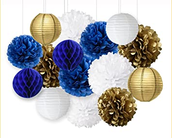 Amazoncom Wcaro Mixed Navy Blue White Gold Party Tissue Paper Pom