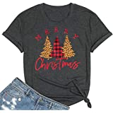 Beopjesk Christmas Shirts Womens Leopard Plaid Trees Printed Casual Short Sleeve Graphic Tees Tops