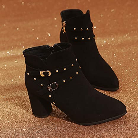Amazon.com: for Shoes,AIMTOPPY Ladies Casual Warm Zipper Rivet High Heel Ankle Boots: Computers & Accessories